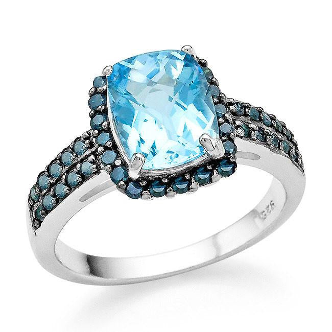 Designer 3.15 Carat Genuine Blue Topaz & Blue Diamond Ring in Sterling Silver