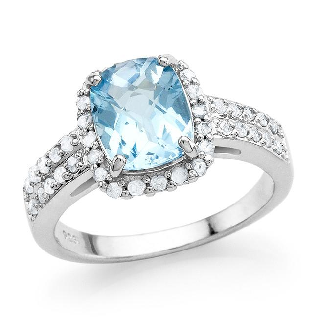 3.15 Carat Genuine Blue Topaz & White Diamond Ring in Sterling Silver