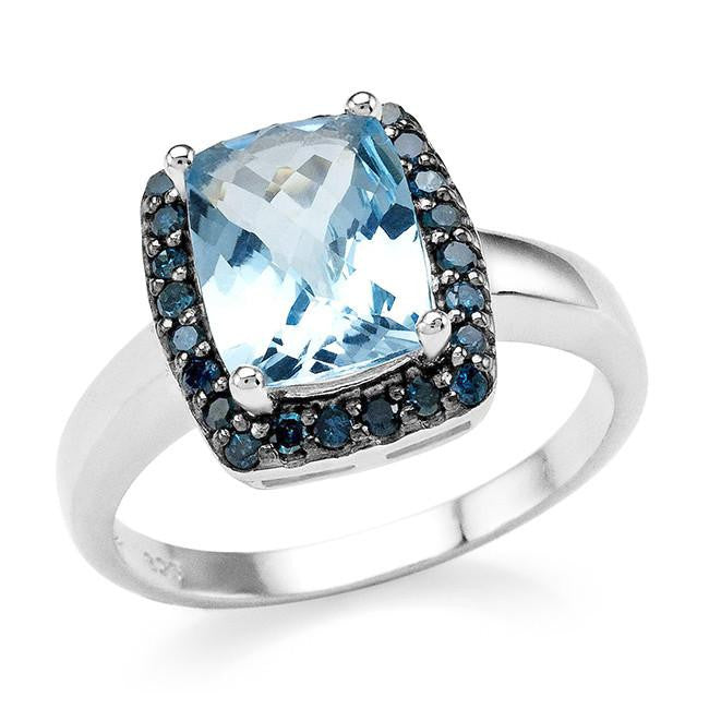 3.00 Carat Genuine Blue Topaz & Blue Diamond Ring in Sterling Silver