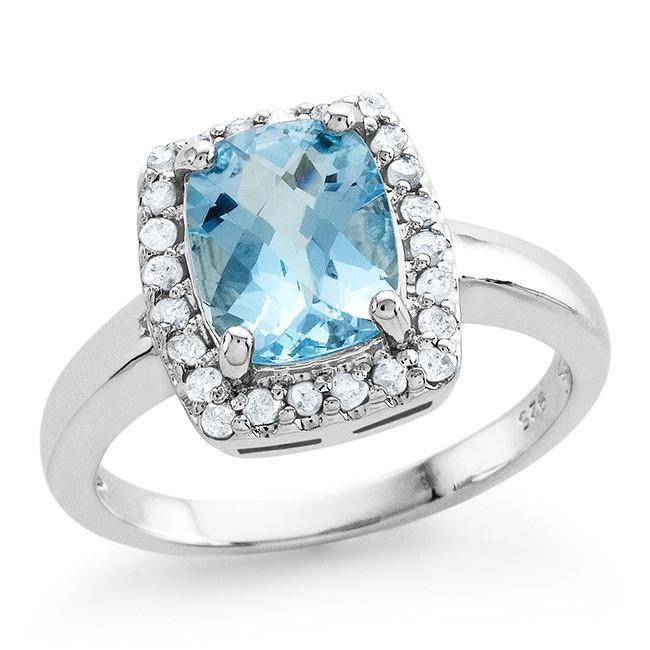 3.00 Carat Genuine Blue Topaz & White Diamond Ring in Sterling Silver