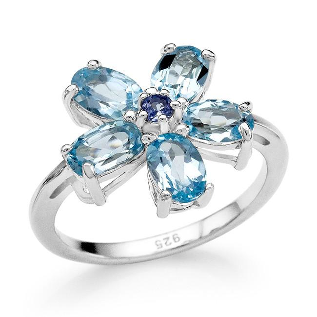 2.80 Carat Genuine Blue Topaz & Tanzanite Flower Ring in Sterling Silver