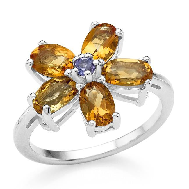 2.20 Carat Genuine Citrine & Tanzanite Flower Ring in Sterling Silver
