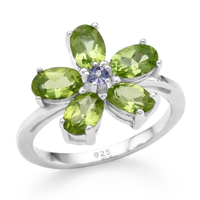 2.55 Carat Genuine Peridot & Tanzanite Flower Ring in Sterling Silver