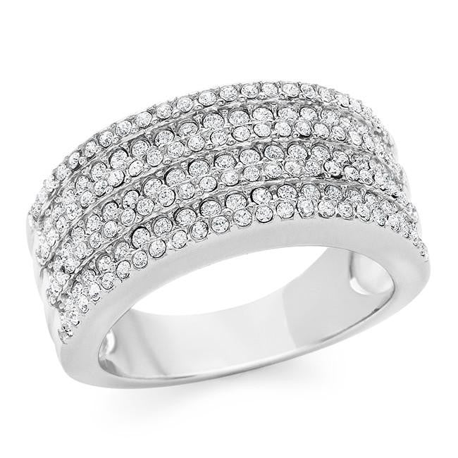 Diamond Accent & Crystal Fashion Ring in Sterling Silver