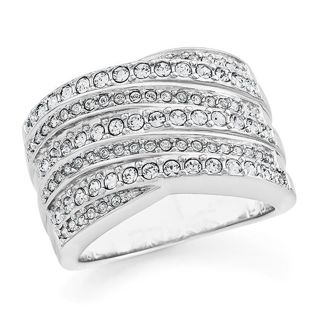 Diamond Accent & White Crystal Ring in Sterling Silver