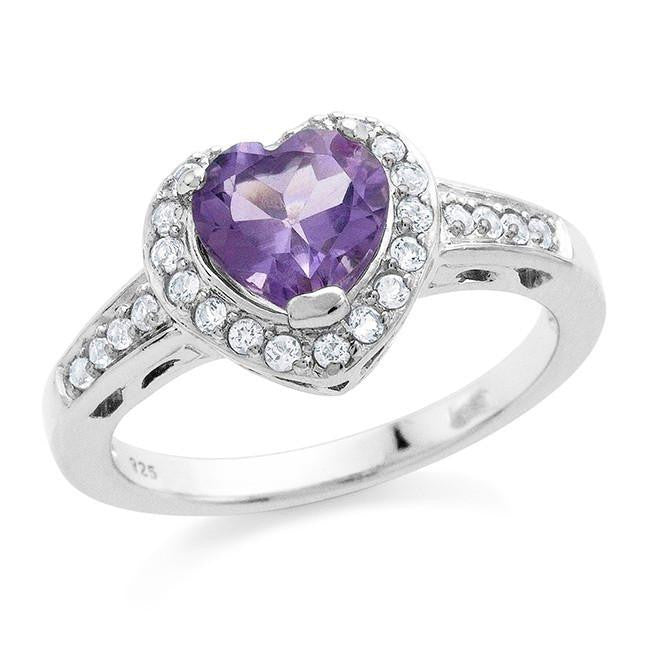 1.75 Carat Genuine Amethyst Heart Ring in Sterling Silver