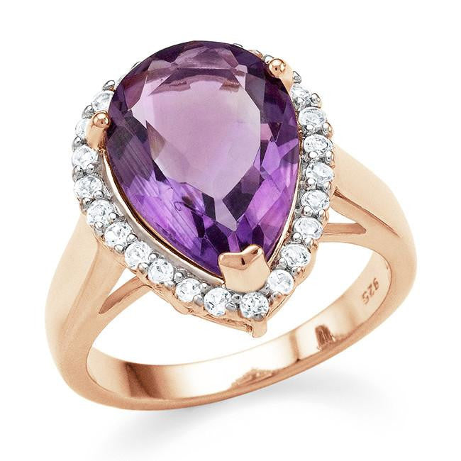 4.95 Carat Genuine Amethyst & White Topaz Cocktail Ring in 14K Rose Gold Over Silver