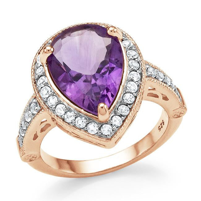 5.20 Carat Genuine Amethyst & White Topaz Cocktail Ring in 14K Rose Gold Over Silver