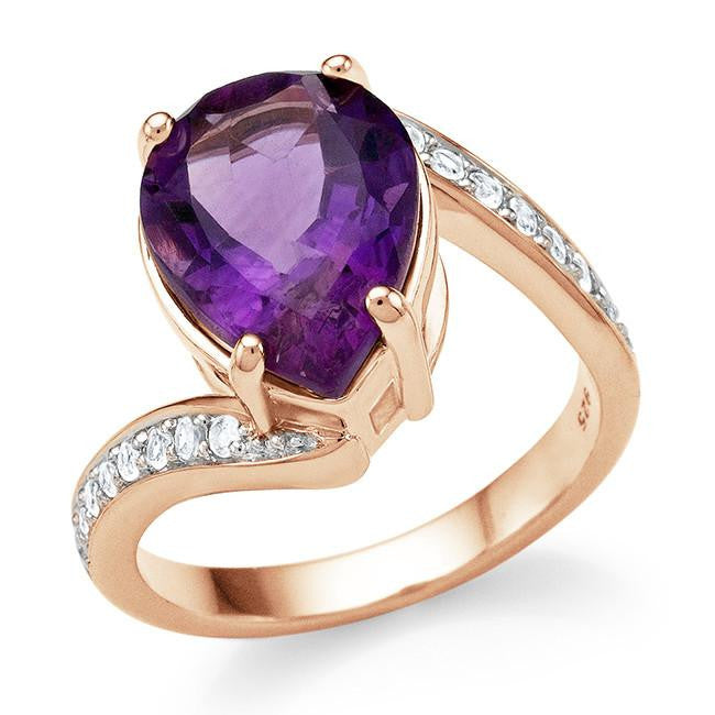 4.75 Carat Genuine Amethyst & White Topaz Ring in 14K Rose Gold Over Silver