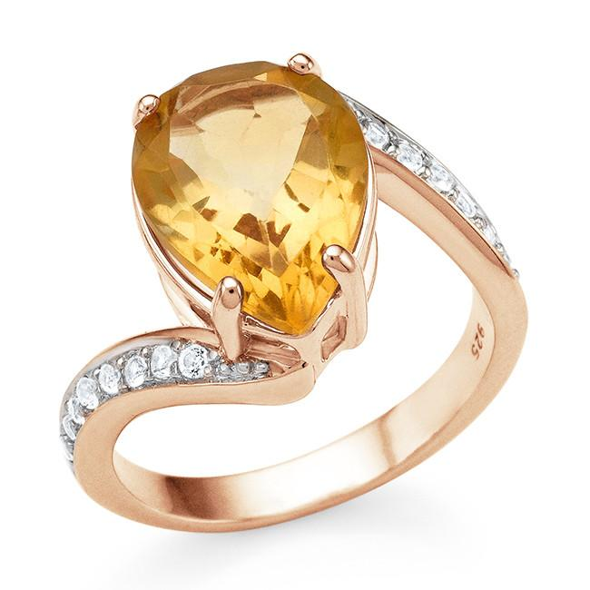 4.75 Carat Genuine Citrine & White Topaz Ring in 14K Rose Gold Over Silver