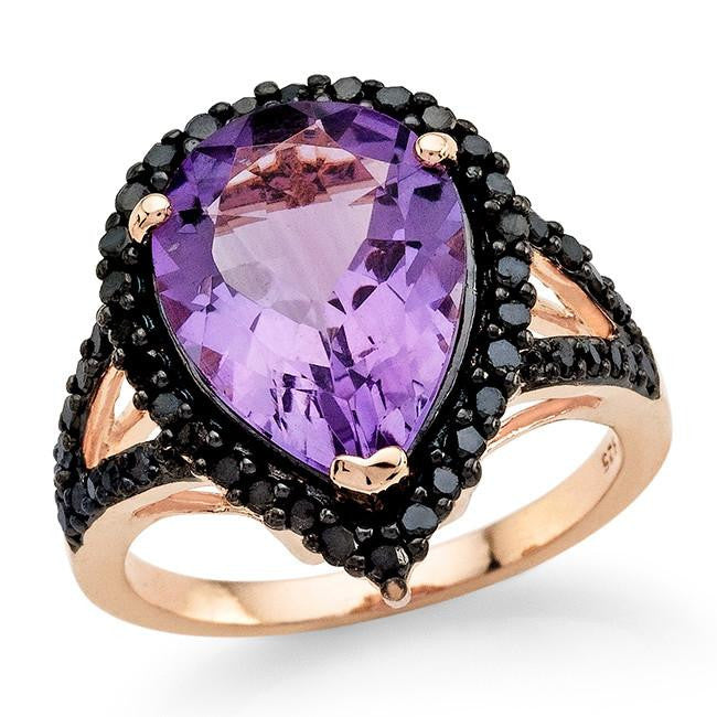 4.70 Carat Genuine Amethyst & Black Diamond Ring in 14K Rose Gold Over Silver