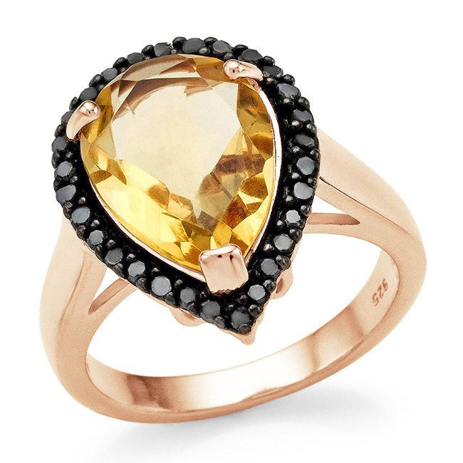 4.50 Carat Genuine Citrine & Black Diamond Cocktail Ring in 14K Rose Gold Over Silver