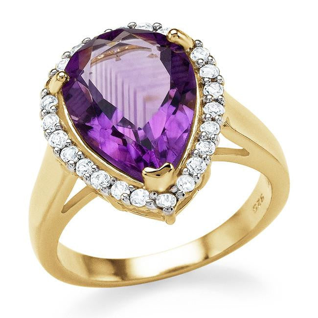 4.95 Carat Genuine Amethyst & White Topaz Cocktail Ring in 14K Yellow Gold Over Silver