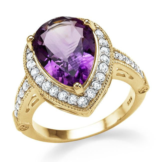 5.20 Carat Genuine Amethyst & White Topaz Cocktail Ring in 14K Yellow Gold Over Silver