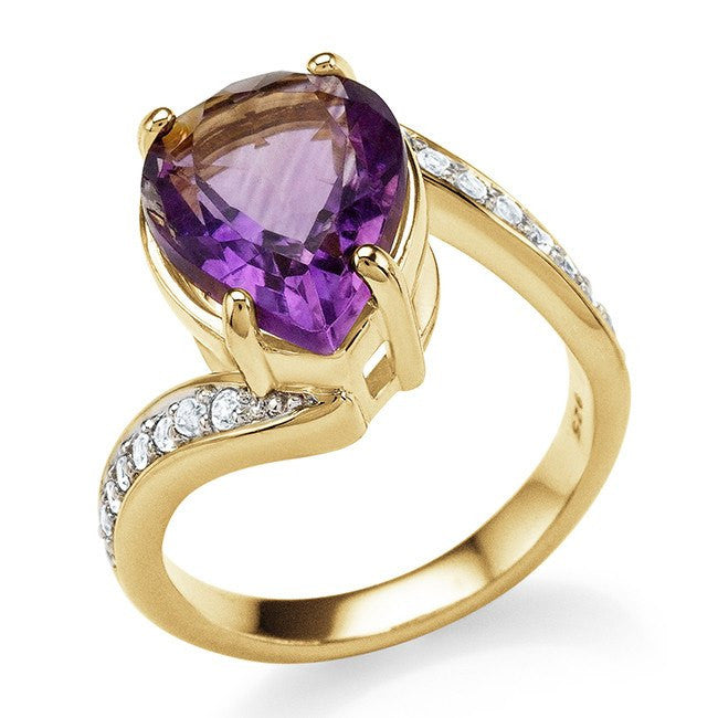4.75 Carat Genuine Amethyst & White Topaz Ring in 14K Yellow Gold Over Silver