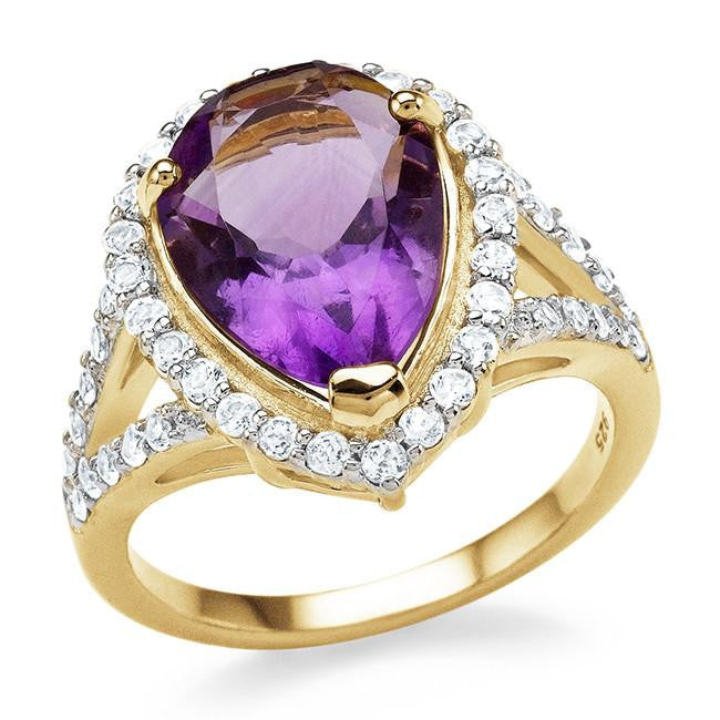 5.55 Carat Genuine Amethyst & White Topaz Cocktail Ring in 14K Yellow Gold Over Silver