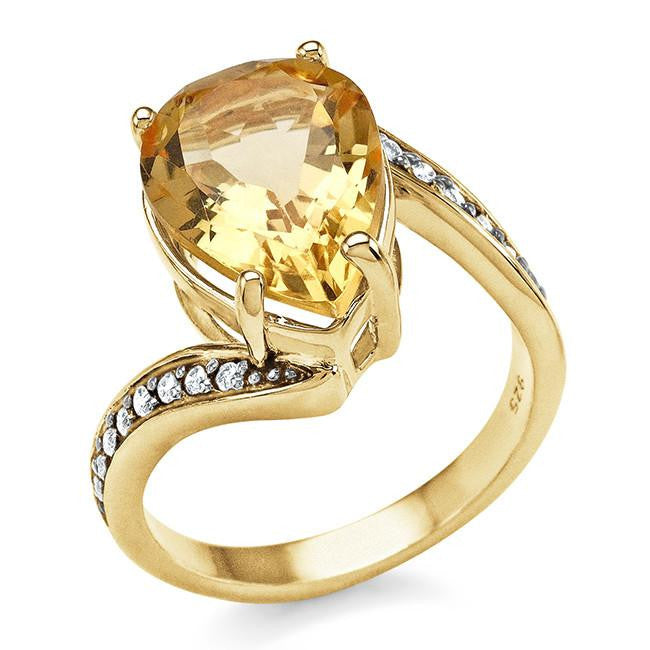 4.40 Carat Genuine Citrine & Champagne Diamond Ring in 14K Yellow Gold Over Silver