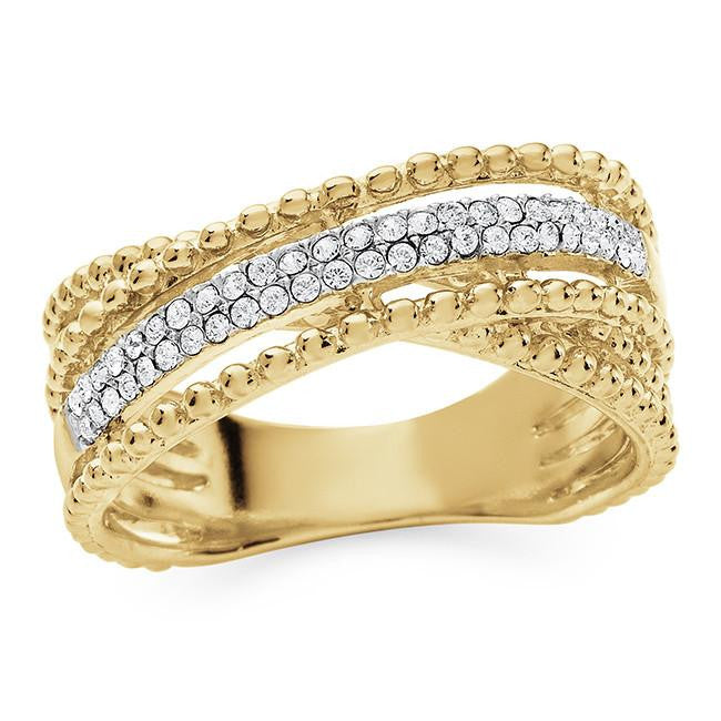 Diamond Accent & Crystal Crossover Ring in Gold-Plated Sterling Silver