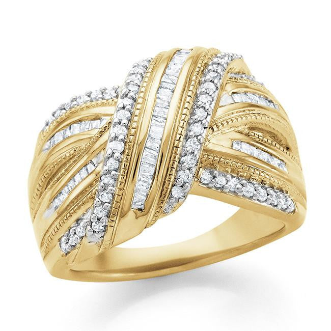 0.50 Carat Diamond Twisted Ring in Gold Over Sterling Silver