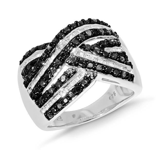 1.00 Carat Black and White Diamond Sterling Silver Criss-Cross Ring