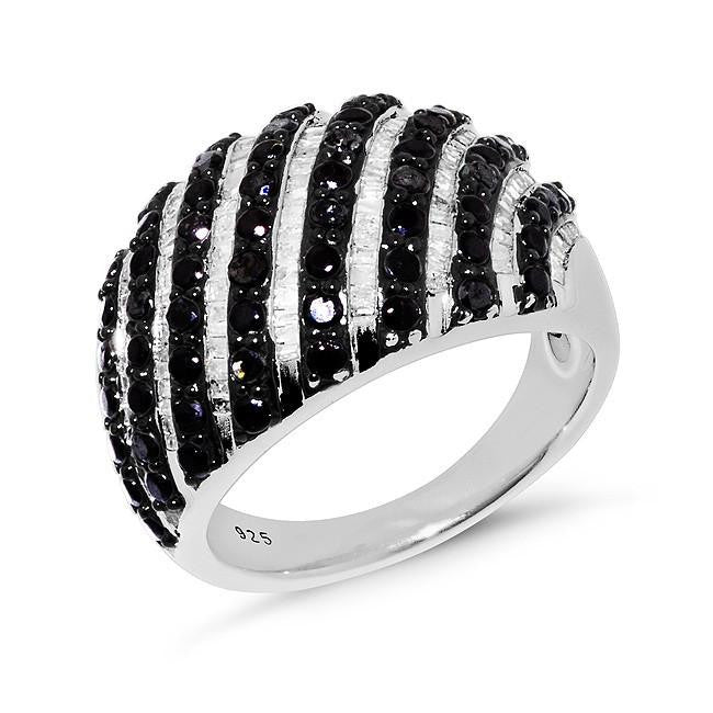 1.00 Carat Black & White Diamond Striped Ring in Sterling Silver
