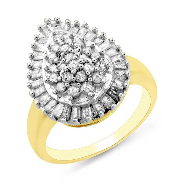 1.00 Carat Diamond Fancy Ring in Gold-Plated Sterling Silver