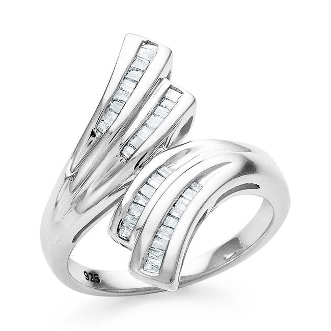 1/4 Carat Diamond Bypass Ring in Sterling Silver
