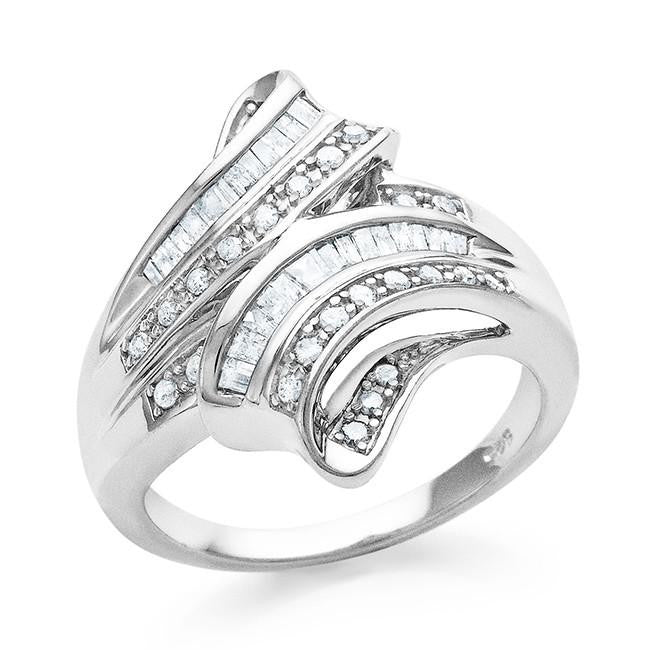 1/2 Carat Diamond Bypass Fashion Ring in Sterling Silver