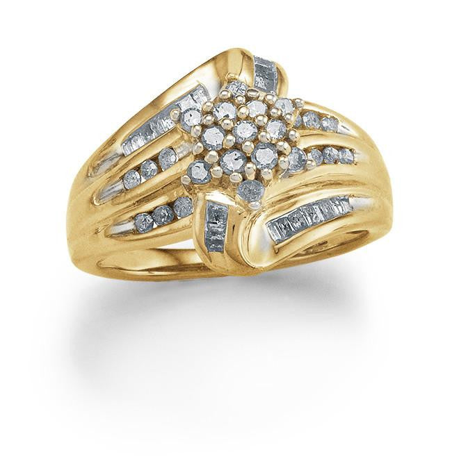 0.50 Carat Fancy Diamond Ring in Yellow Gold-Plated Sterling Silver