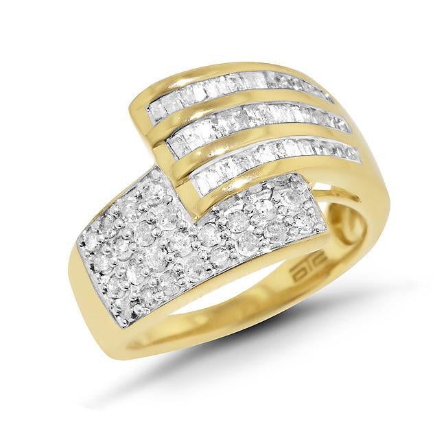 1.00 Carat Diamond Bypass Ring in Gold Over Sterling Silver