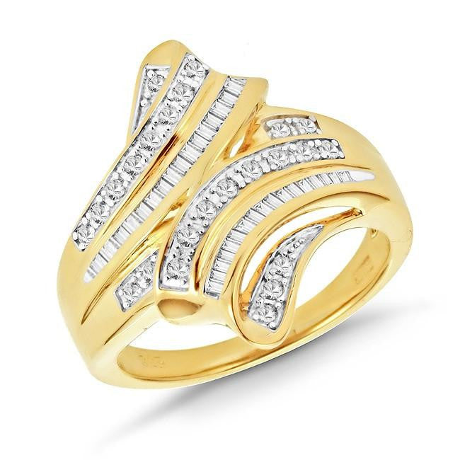 1/2 Carat Diamond Overlay Ring in Yellow Gold-Plated Silver