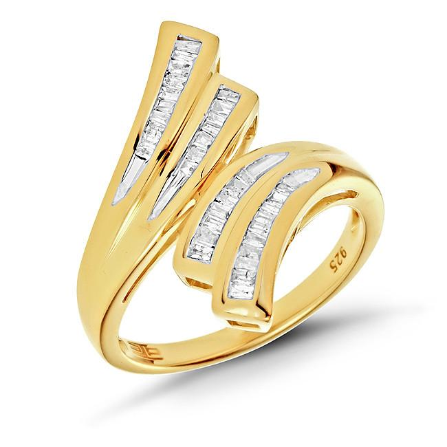 1/4 Carat Diamond Bypass Ring in 14K Yellow Gold/Sterling Silver