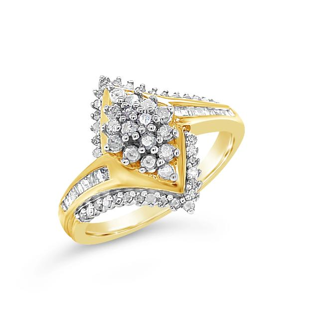 1/2 Carat Diamond Cluster Ring in Gold-Plated Sterling Silver
