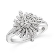 Load image into Gallery viewer, 1/6 Carat Diamond Star Ring in Sterling Silver