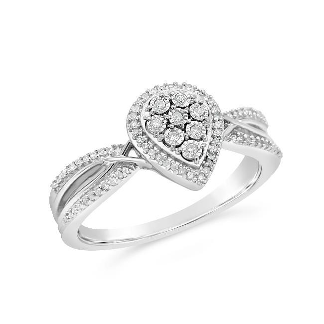 1/10 Carat Diamond Pear-Shaped Ring in Sterling Silver