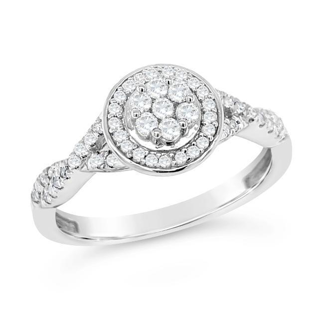 1/3 Carat Diamond Halo Ring in Sterling Silver