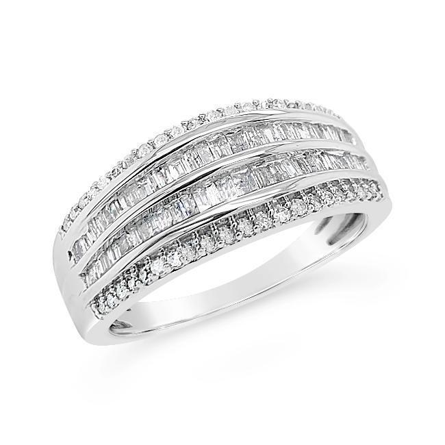 1/2 Carat Diamond Anniversary Band in Sterling Silver
