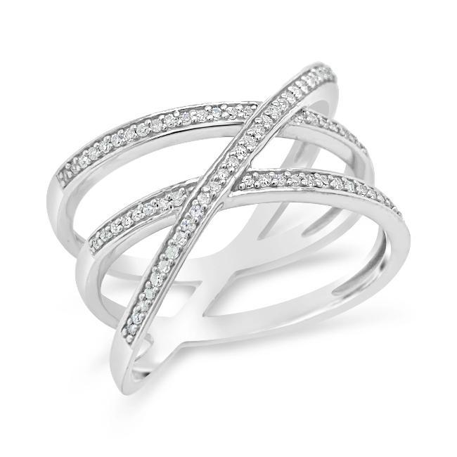 1/6 Carat Diamond Criss Cross Ring in Sterling Silver