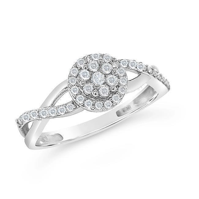 1/4 Carat Diamond Halo Ring in Sterling Silver