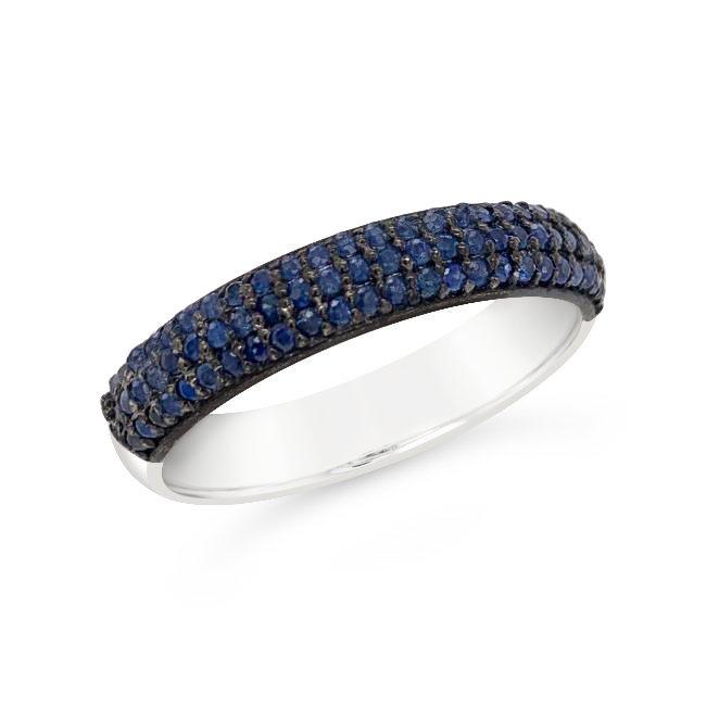 1/2 Carat Genuine Blue Sapphire Band in Sterling Silver