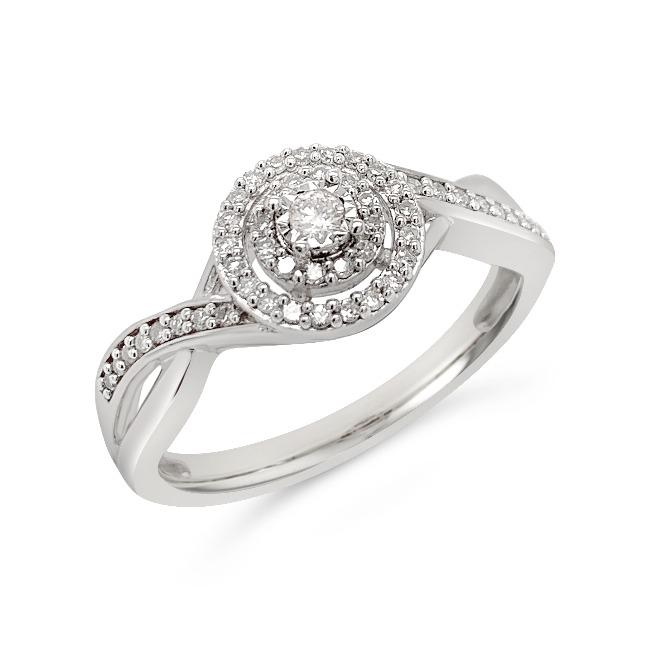 1/5 Carat Diamond Halo Ring in Sterling Silver