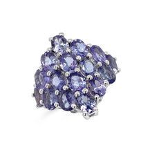 Load image into Gallery viewer, 4.70 Carat Genuine Tanzanite Cluster Ring in Sterling Silver