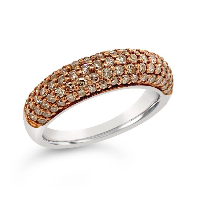 1.00 Carat Champagne Diamond Band in Sterling Silver