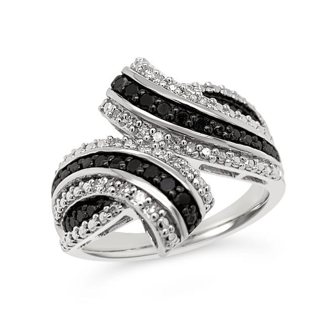 1/3 Carat Black & White Diamond Bypass Ring in Sterling Silver