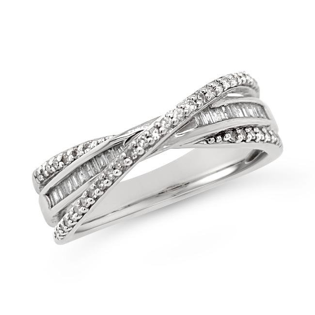 1/3 Carat Diamond Crossover Ring in Sterling Silver