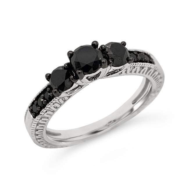 1.00 Carat Black Diamond Ring in Sterling Silver