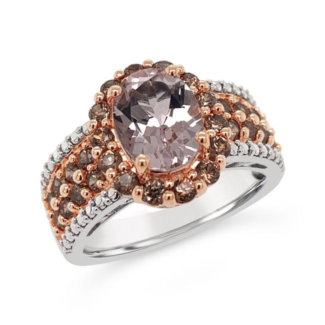 2.75 Carat Genuine Morganite & Brown Zircon Ring in Sterling Silver
