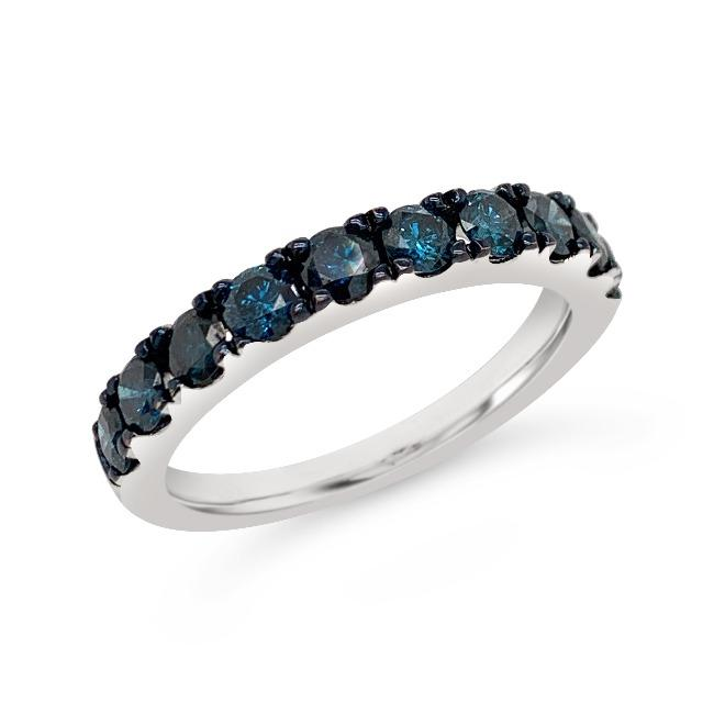 1.00 Carat Blue Diamond Band in Sterling Silver