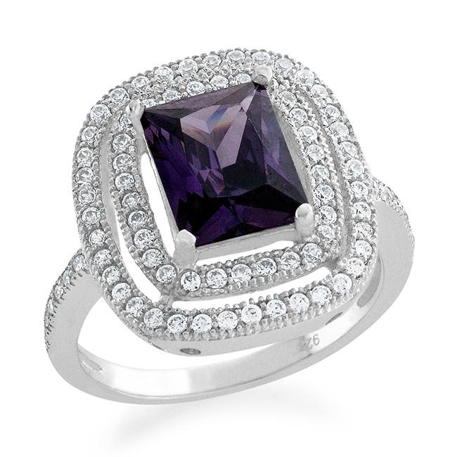 1.50 Carat Cushion Cut Amethyst and Cubic Zirconia Fashion Ring