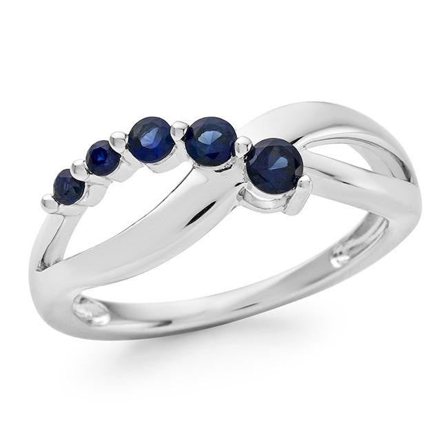 1/2 Carat Blue Sapphire Infinity Ring in Sterling Silver